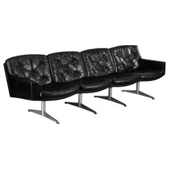 Black Leather Midcentury Modern 4-Seat Sofa by Lystager, 1960s