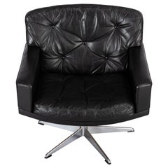 Black Leather Mid-Century Modern Swivel Chair by Lystager, 1960s