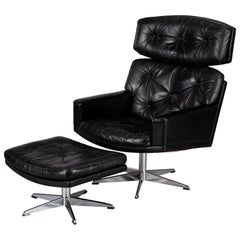 Black Leather Mid-Century Modern Swivel Chair with Ottoman by Lystager, 1960s