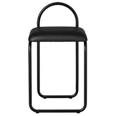 Black Leather Minimalist Dining Chair