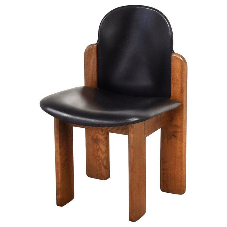Black Leather Model 330 Dining Chair, Silvio Coppola, Fratelli Montina, 1970s In Good Condition In Brooklyn, NY
