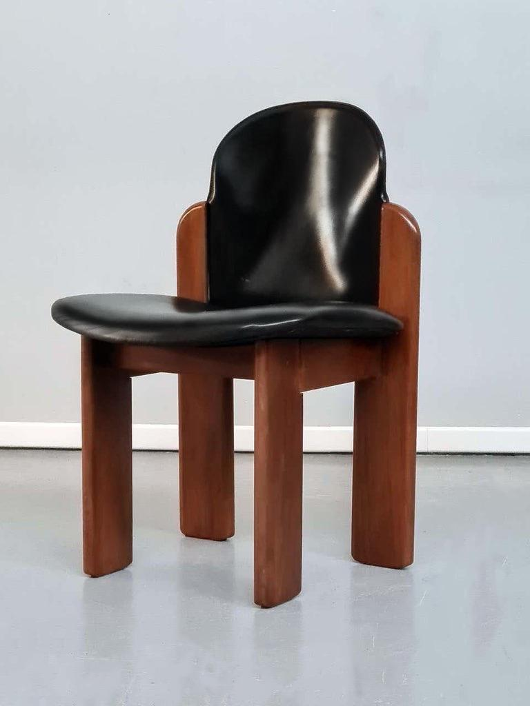 20th Century Black Leather Model 330 Dining Chair, Silvio Coppola, Fratelli Montina, 1970s