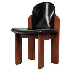 Black Leather Model 330 Dining Chair, Silvio Coppola, Fratelli Montina, 1970s