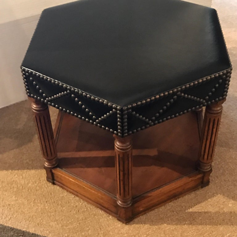 Modern Black Leather Nailhead Stool in the Manner of Maison Jansen For Sale