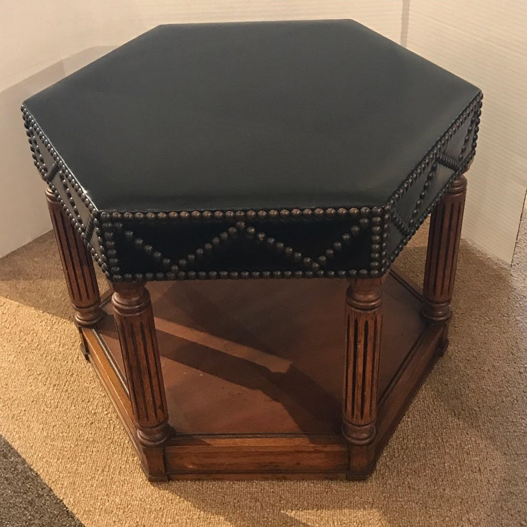 American Black Leather Nailhead Stool in the Manner of Maison Jansen For Sale