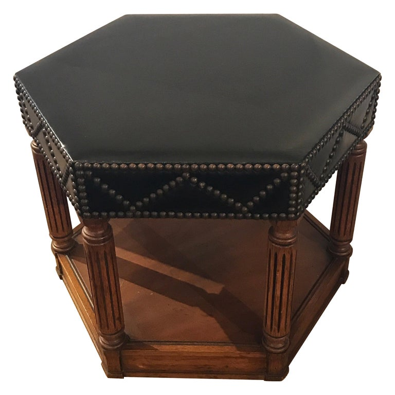 Black Leather Nailhead Stool in the Manner of Maison Jansen For Sale