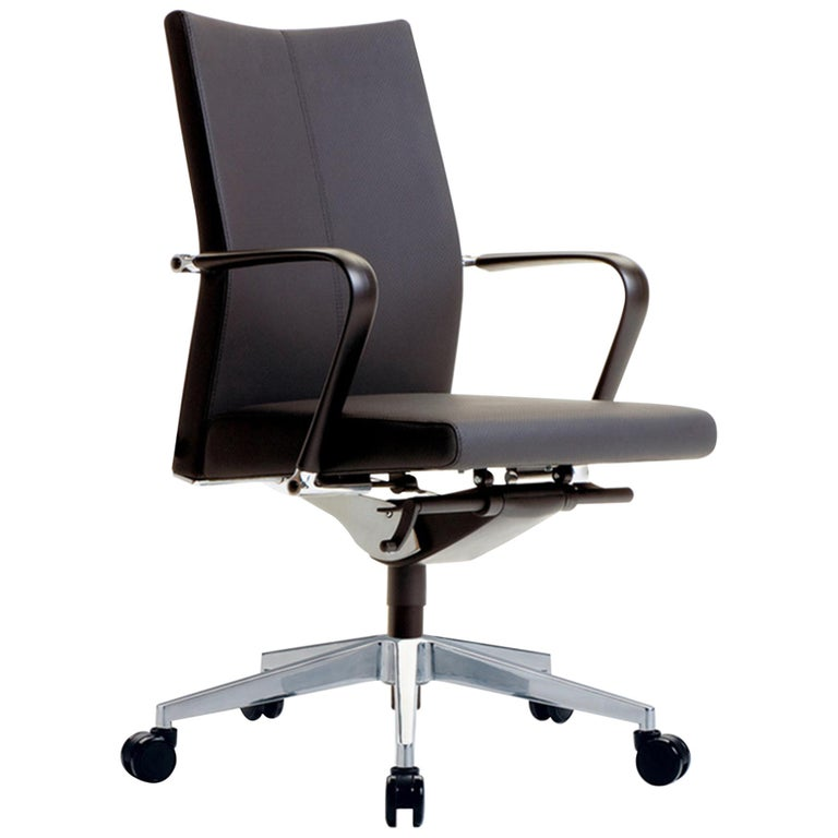 Black Leather on Castors Slim Executive Armchair For Sale