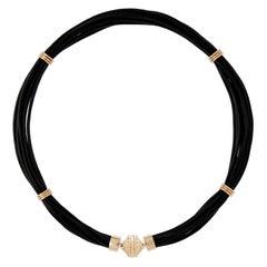 Black Leather Pendant Necklace