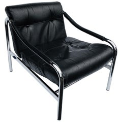 Black Leather Pieff Chair Designed by Tim Bates, England, circa 1970s