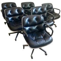 Black Leather Pollock Desk Chairs by Knoll