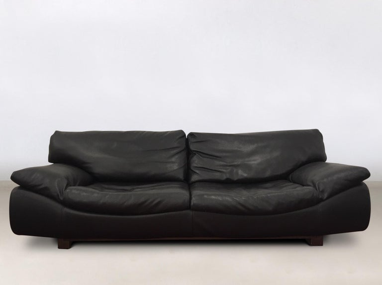 Gorgeous ensemble, consisting of a large sofa and two lounge chairs. All pieces feature a thick black leather upholstery on a wooden base. Straps and zippers to remove parts or to keep parts to their place. The set remains in wonderful condition