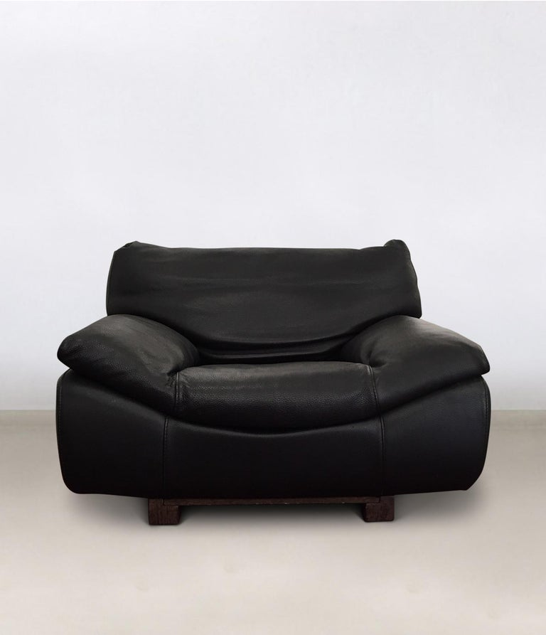 Black Leather Postmodern, Modern, Roche Bobois Sofa Set, Living Room Set
