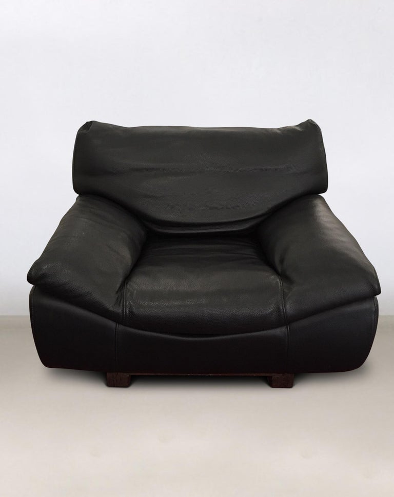 Black Leather Postmodern, Modern, Roche Bobois Sofa Set, Living Room Set In Good Condition For Sale In Schagen, NL