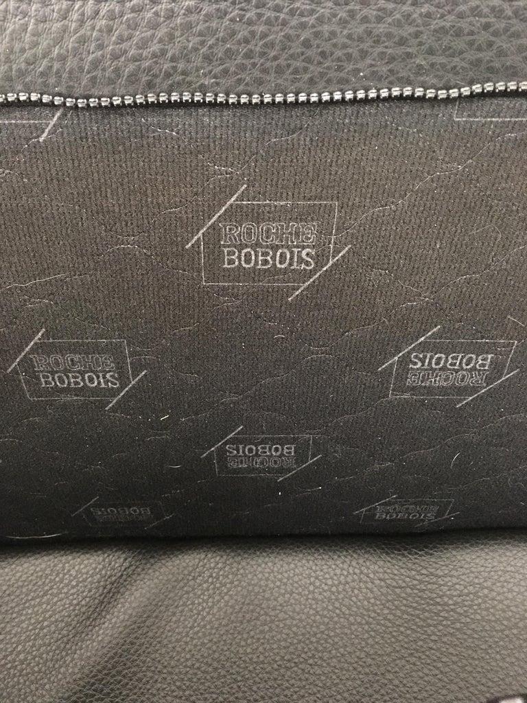 20th Century Black Leather Postmodern, Modern, Roche Bobois Sofa Set, Living Room Set For Sale