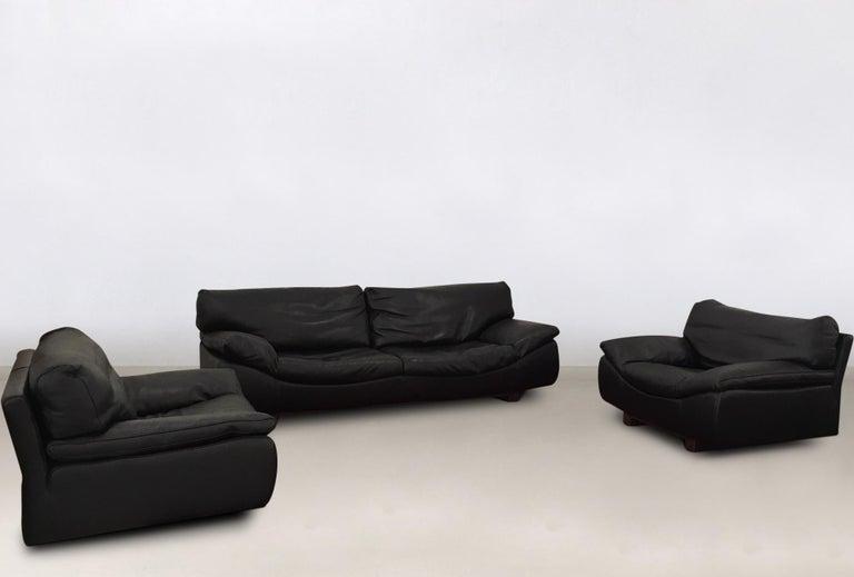 Black Leather Postmodern Modern Roche Bobois Sofa Set Living Room Set
