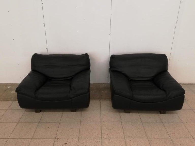 Black Leather Postmodern, Modern, Roche Bobois Sofa Set, Living Room Set For Sale 4