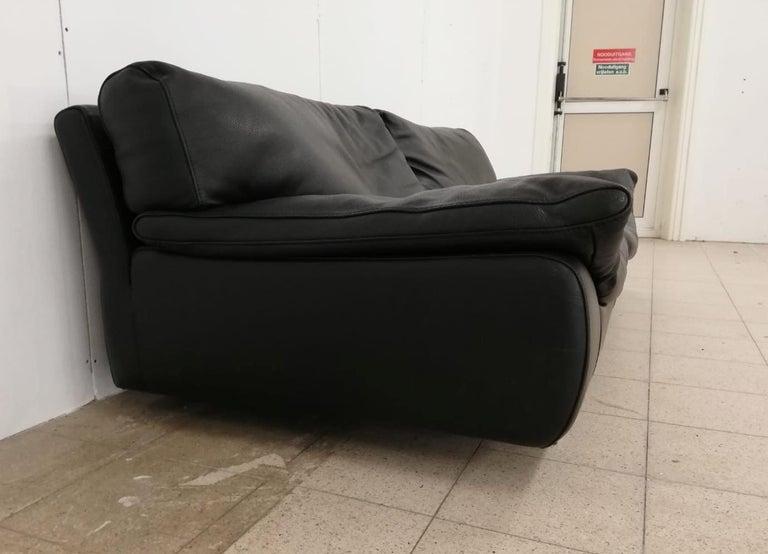 Black Leather Postmodern, Modern, Roche Bobois Sofa Set, Living Room Set For Sale 6