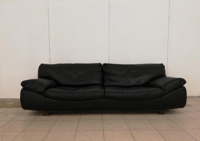 Black Leather Postmodern, Modern, Roche Bobois Sofa Set, Living Room Set For Sale 7