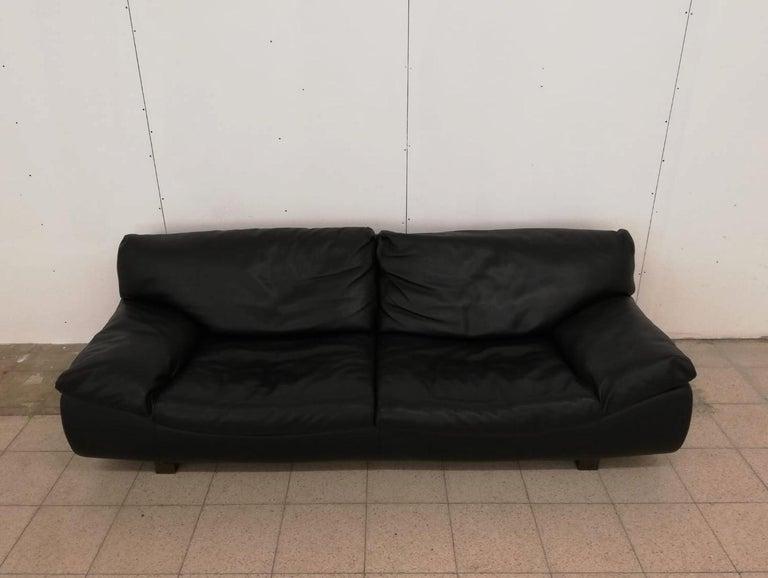 Black Leather Postmodern, Modern, Roche Bobois Sofa Set, Living Room Set For Sale 8