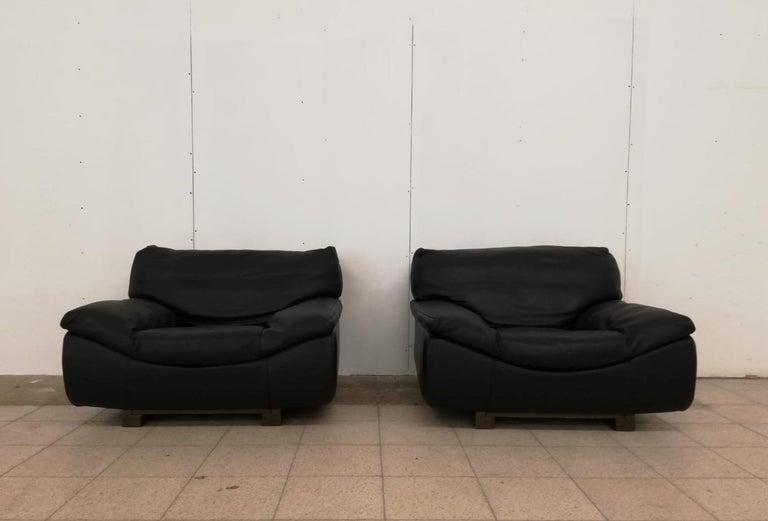 Black Leather Postmodern, Modern, Roche Bobois Sofa Set, Living Room Set For Sale 9