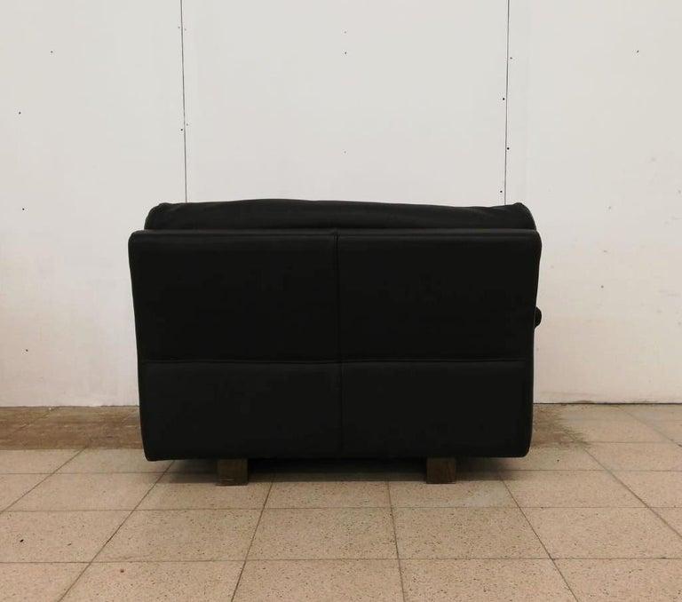 Black Leather Postmodern, Modern, Roche Bobois Sofa Set, Living Room Set For Sale 2