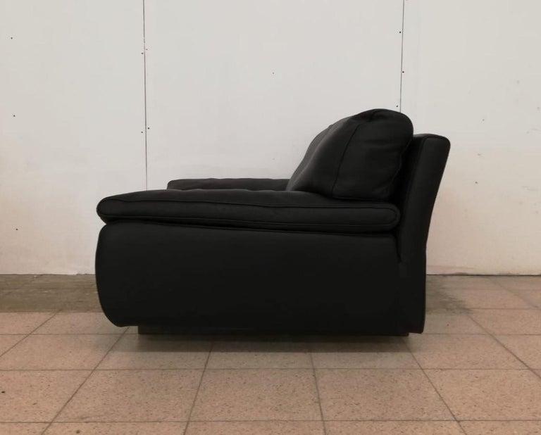 Black Leather Postmodern, Modern, Roche Bobois Sofa Set, Living Room Set For Sale 3