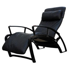 Black Leather Reclining Porsche Chair IP84S by F. Porsche for Baker