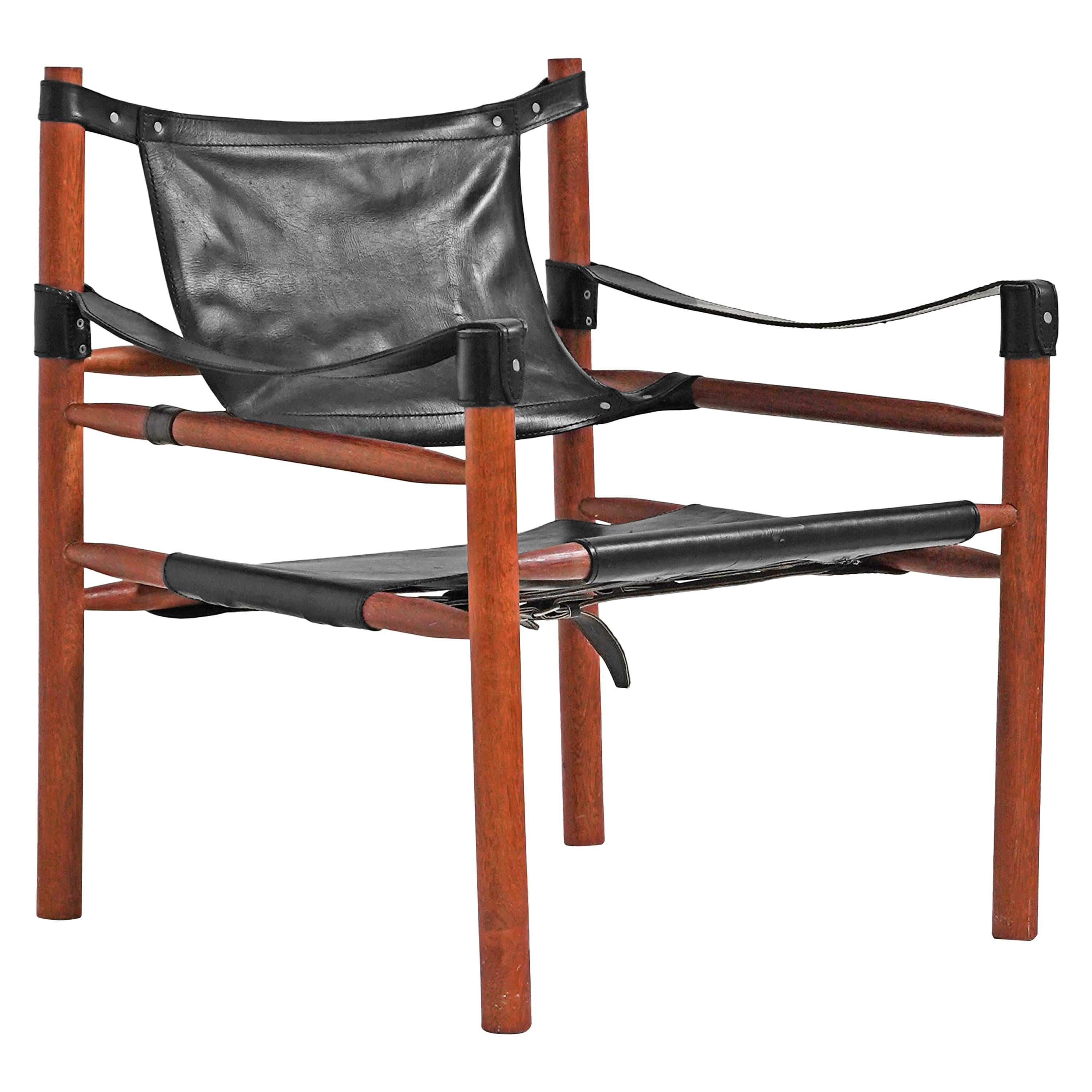 Black Leather Safari Sling Chair in the style of Arne Norell for Norells AB