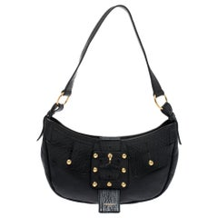 Black Leather Saharienne Hobo