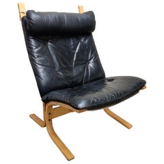 Black Leather Siesta Chair by Ingmar Relling for Westnofa, 1970s