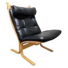 Black Leather Siesta Chair by Ingmar Relling for Westnofa, 1970s