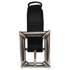 Black leather silver hardware belt