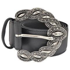 Black leather silver hardware belt NWOT