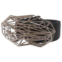Black leather silver hardware handmade belt