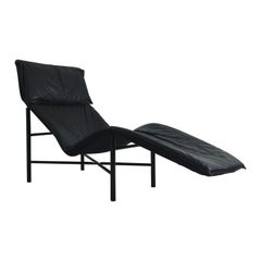 Black Leather 'Skye' Chaise by Tord Björklund for Ikea, circa 1980