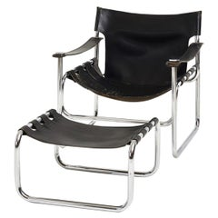 Black Leather Sling Chair and Ottoman, 1970