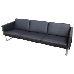 Black Leather Sofa by Hans Wegner, Model CH103, for Carl Hansen & Son