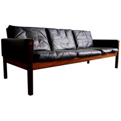 Black Leather Sofa, Model AP62 by Hans Wegner, Mid-20th Century, Denmark