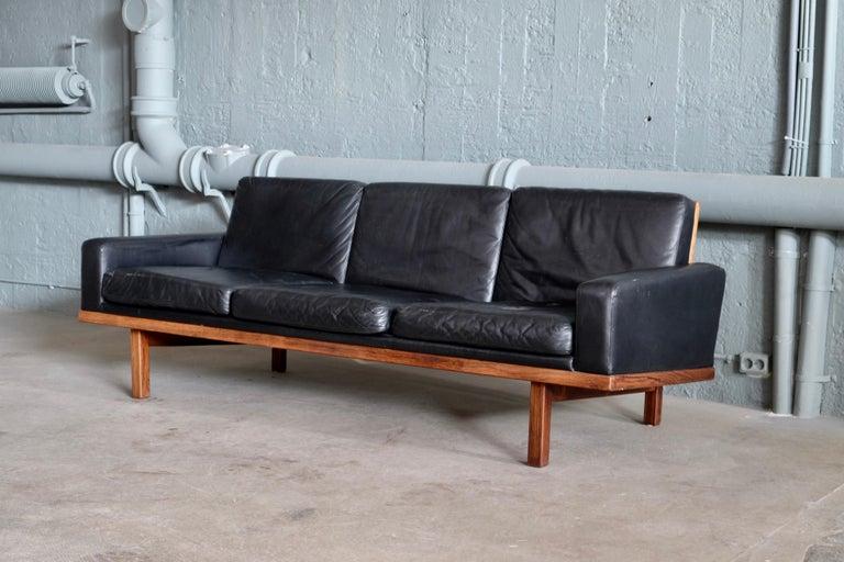 Swedish Black Leather Sofa