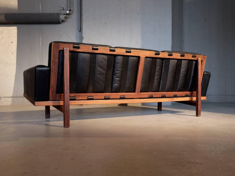 Mid-20th Century Black Leather Sofa