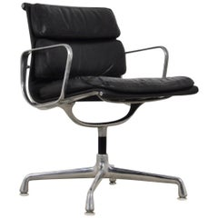 Black Leather Soft Pad Chair by Charles & Ray Eames for Herman Miller, 1970s
