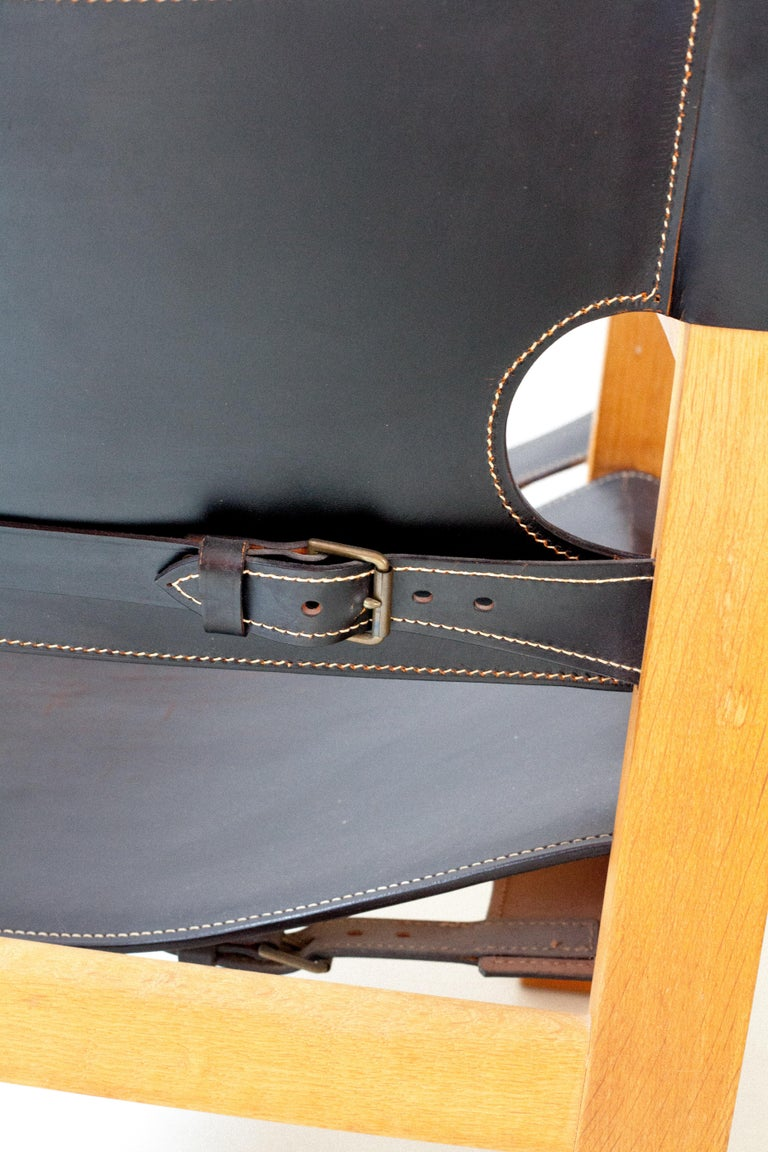 Black Leather Spanish Chair by Børge Mogensen In Good Condition For Sale In Brooklyn, NY