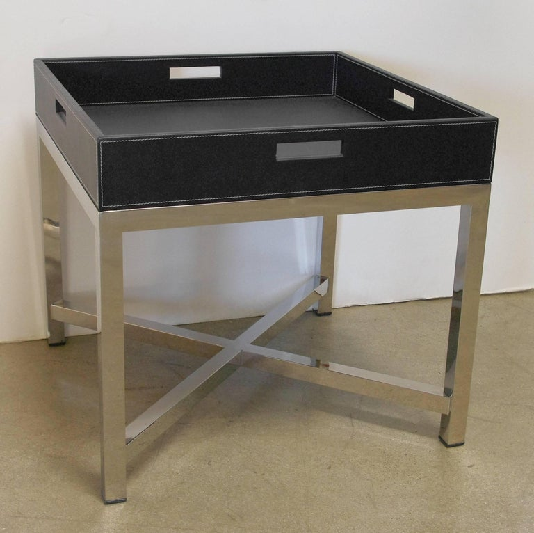 Black leather and stainless steel tray table, made in Italy, 1980s.