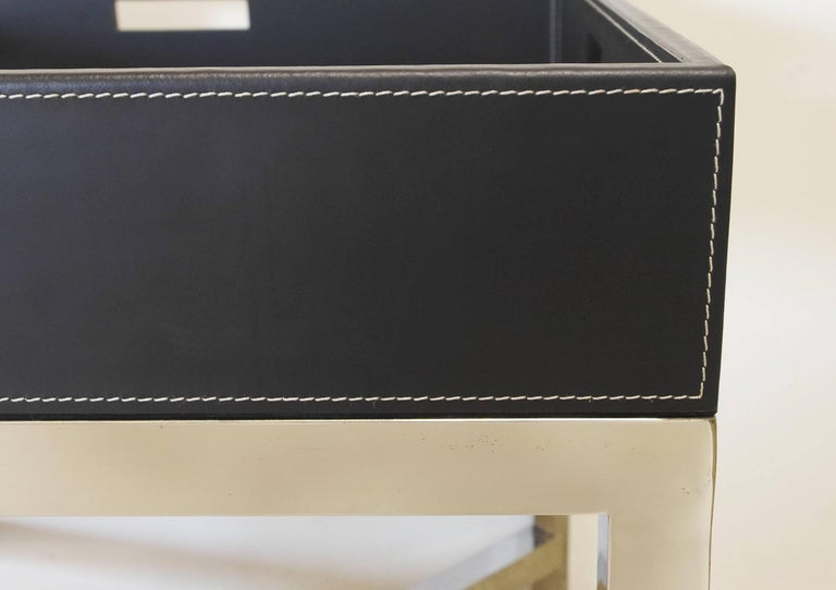 Italian Black Leather and Stainless Steel Tray Table, Italy, 1980s For Sale
