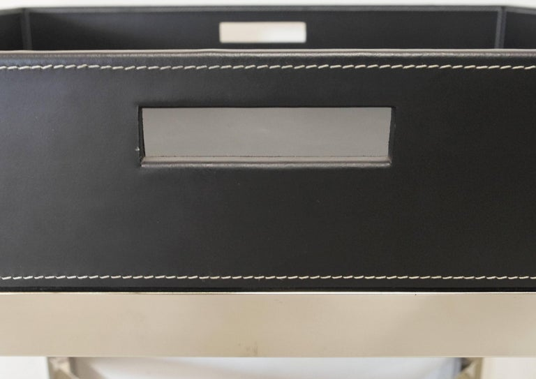 Black Leather and Stainless Steel Tray Table, Italy, 1980s In Good Condition For Sale In Los Angeles, CA