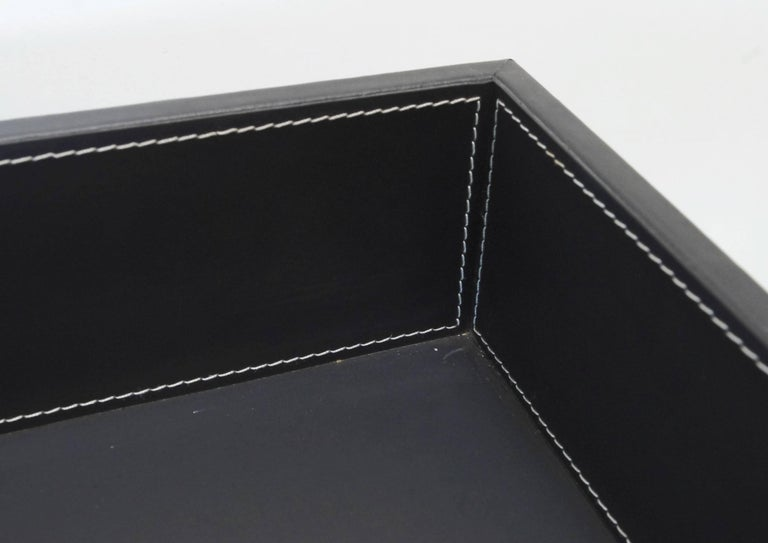 Late 20th Century Black Leather and Stainless Steel Tray Table, Italy, 1980s For Sale