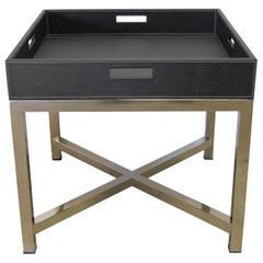 Black Leather and Stainless Steel Tray Table, Italy, 1980s