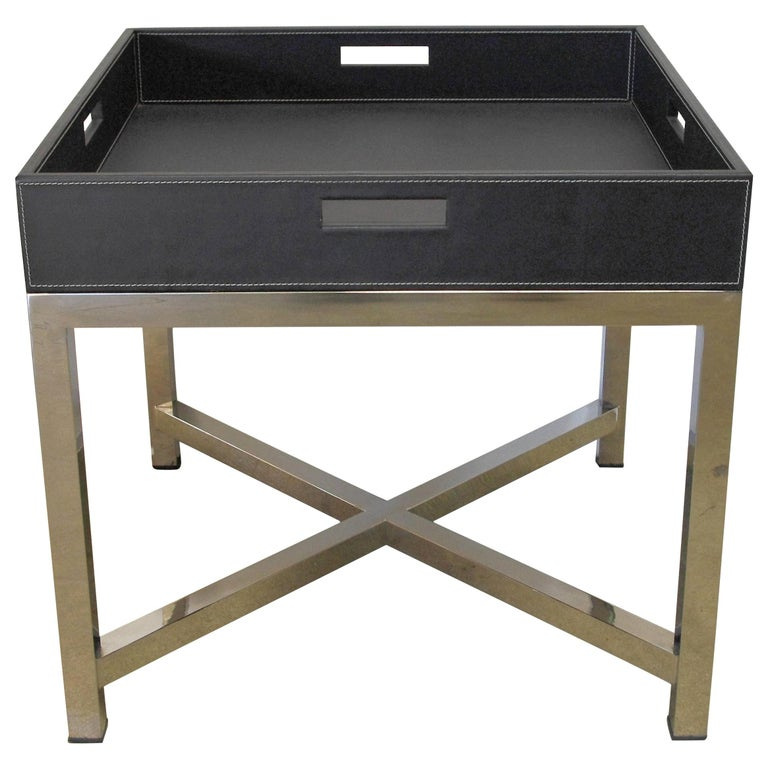 Black Leather and Stainless Steel Tray Table, Italy, 1980s For Sale
