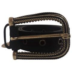 Black leather suede belt NWOT