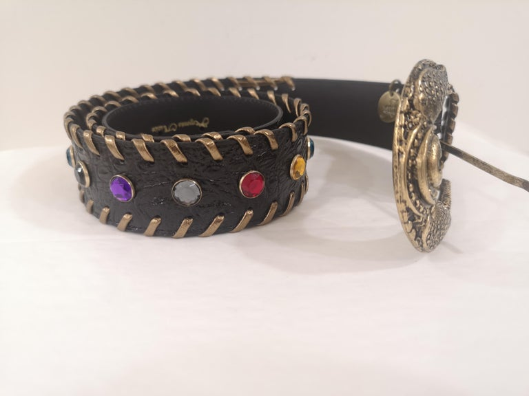 Black leather swarovski handmade belt NWOT totally made in italy total lenght 105 cm